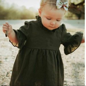 Canis Olive Green Peasant Toddler Dress